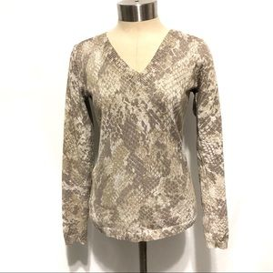 Carmen Marc Valvo Metallic V- Neck Sweater M